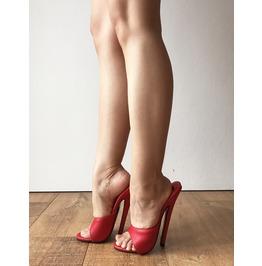 18 Mule Sexy Mistress Hi Heel Stiletto Fetish Slipper Slides Mule Red Matte