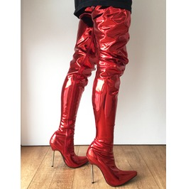Lethal 12cm Silver Metal Heel 80cm Crotch Show Boot Metallic Red Fire