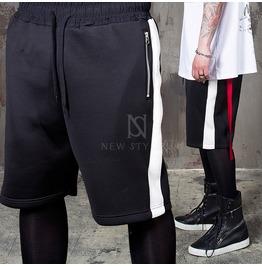 Side Stripe Accent Black Neoprene Sweat Shorts 74
