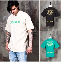Lettering Distressed Vintage Round T Shirts 726