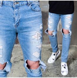 Ripped Knees Distressed Blue Denim Slim Jeans 286