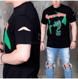 Sleeve Cutting Accent Black Round T Shirts 728