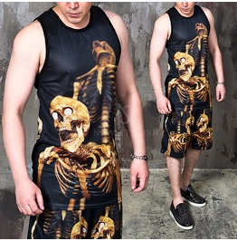 Doggy Position Gold Skeleton Mesh Tank 101