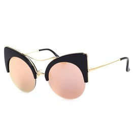 Double Beam Floral Cat Eye Sunglasses Black Pink Blue Orange Marble