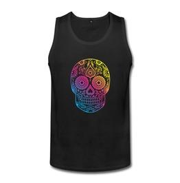 Rainbow Skull Tank Sleeveless Top Men's Black
