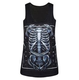 Men's Skeleton Skull Print Tank Top Black Vest