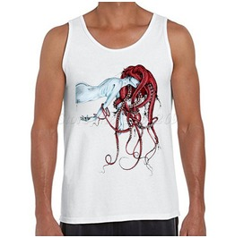 Men's Trippy Print Tank Top Vest Sleeveless White