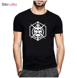Geometric Skull Print T Shirt Tees Men's Black