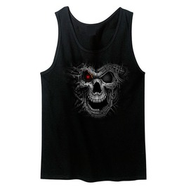 Cyborg Skull With Neon Red Eye Unisex Men And Women's Tank Top