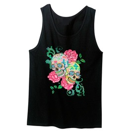 Day Of The Dead Neon Black Light Double Skull And Roses Women's Tank Top