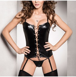 Passion Black Wet Look Pvc Corset Lace Up Front Fetish Small To 7 Xl