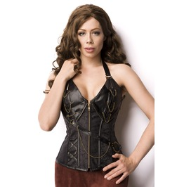 Black Brown Red 14 Steel Bone Steampunk Faux Leather Corset S 4 Xl Medieval