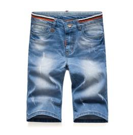 Mens Blue Trousers Comfy Fitting Denim & Cotton Jean Summer Shorts Hot Sale