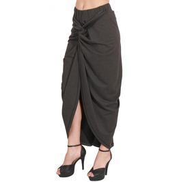 Grey Draped Womens Skirt, Trendy Gray Party Skirt, Maxi Skirt
