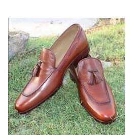 Handmade Men Brown Dress Shoes, Men Brown Leather Moccasins Tassel Shoes