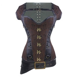 Gothic Steampunk 3 Piece Set Vest Steelbone Brocade Overbust Corset Belt