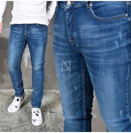 Lightly Distressed Basic Blue Denim Slim Jeans 287