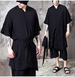 Black Strap Belt V Neck Poncho Shirts 730