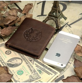 Dragon Stamped Genuine Leather Wallet Brown Men's