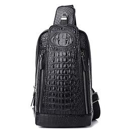 Crocodile Skin Faux Leather Crossbody Bag Men's Black Brown Saddle