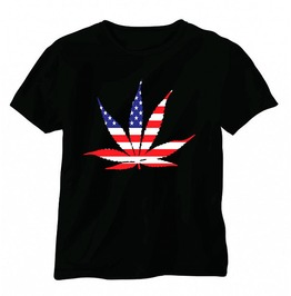 Pot Leaf With American Flag 100% Preshrunk Cotton Short Sleeve T Shirt