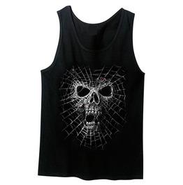Black Widow Spider Skull Screen Printed Tank Top