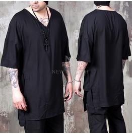 Multiple Side Strap Accent Black V Neck Boxy Elbow Shirts 735