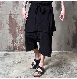 Wrinkled Black Wide Baggy Crop Pants 147