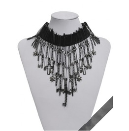 Punk Rave Women's Punk Skull And Cross Tassels Choker Necklaces S122