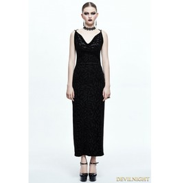 Black Gothic Sexy Back Long Dress Skt036