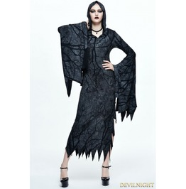 Gothic Witch Vampire Hooded Long Dress Skt050