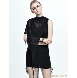 Gothic Black Spider Web Cape Dress Skt051