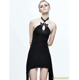 Black Halter Gothic Butterfly Dress Skt053