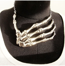 Hand Bone Necklace In White Bronze ,Rocker Jewelry ,Biker Jewelry
