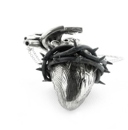 Heart Of Thorn Pendant In White Bronze Oxidized Antique Color