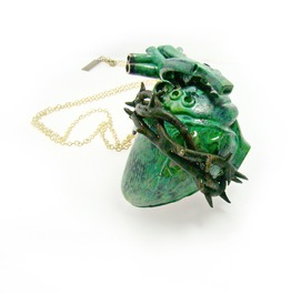 Heart Of Thorn Pendant In Brass Oxidized Patina Color