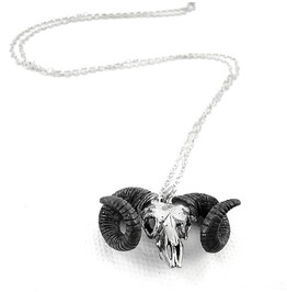 Aries Skull Ramble Zodiac White Bronze Pendant Collection