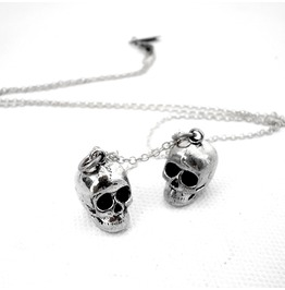 Gemini Twin Skull Zodiac Pendant Collection White Bronze