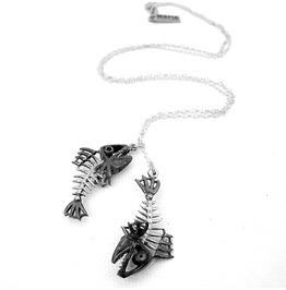 Pisces Fish Bone Zodiac Pendant Collection White Bronze