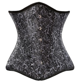 Gray Jacquard Floral Spiral Steel Boned Gothic Underbust Corset
