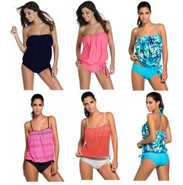 Bandeau Tankini Swim Suit Bikini Black Navy Flattering Style 4 26 Plus Size