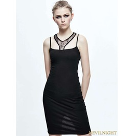 Black Gothic Spider Web Dress Skt055