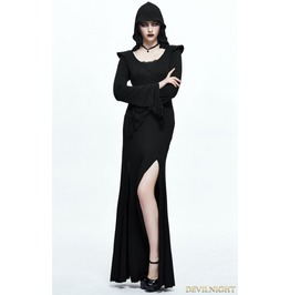 Black Gothic Sexy Hooded Long Dress Skt056