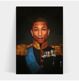 Pharrell Williams Face Replace Vintage Military Portrait Print A2