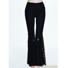 Black Gothic Cross Lace Bell Bottomed Pants For Women Pt050