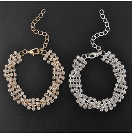 Classy Full Shining Gold Silver Rhinestone Crystal Twisted Chain Bracelets