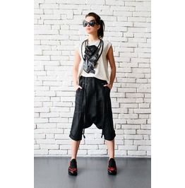 Black Linen Capris/Loose Drop Crotch Pants/Linen Harem Pants/Black Pants