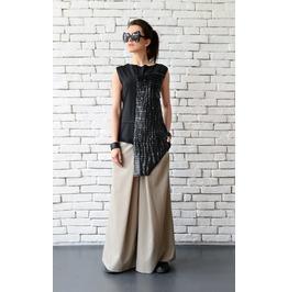 Extravagant Asymmetric Leather Top/Long Short Casual Vest/Summer Black Top