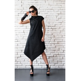 Black Asymmetric Dress/Plus Size Loose Tunic/Extravagant Long Top/Maxi Dres