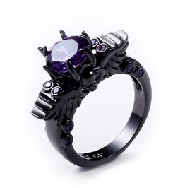 Victorian Punk Zircon Stones Ring,Vintage Black Skeleton Ring